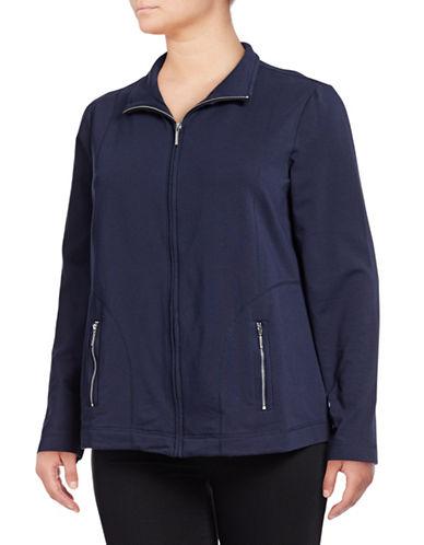 Karen Scott Plus Full-Zip Mock Neck Jacket-NAVY-1X