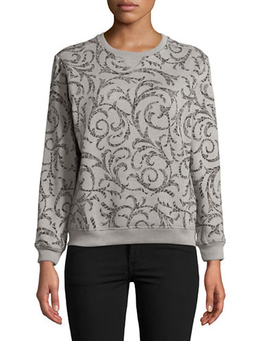 Karen Scott Petite Shaded Scroll Sweatshirt-GREY-Petite X-Small