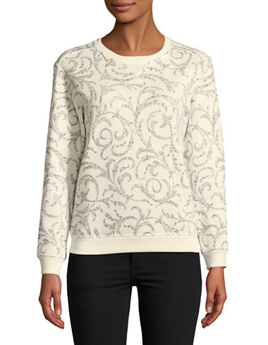 Karen Scott Petite Shaded Scroll Sweatshirt-WHITE-Petite Medium