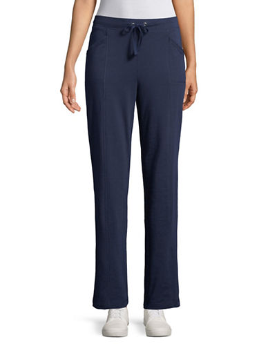 Karen Scott French Terry Jogging Pants-BLUE-Medium