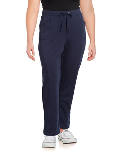 Karen Scott Plus French Terry Pants-BLUE-2X