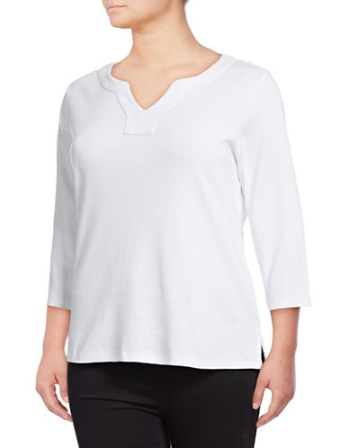 Karen Scott Plus Three-Quarter Sleeve Cotton Top-WHITE-3X