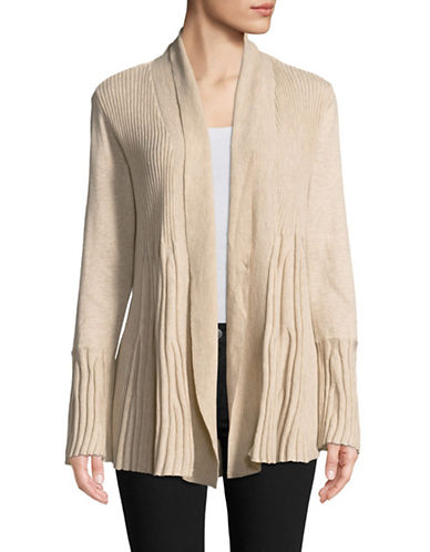 Style And Co. Petite Swing Stitch Cardigan-BEIGE-Petite Large