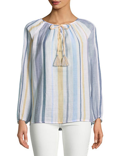 Style And Co. Lagoon Striped Cotton Peasant Top-BEIGE-X-Large