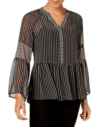 Style And Co. Patterned Hi-Lo Top-BLACK-X-Large