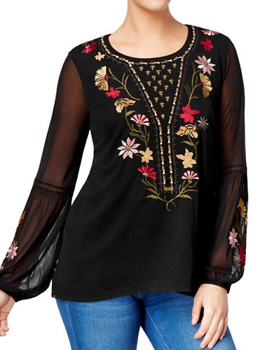 Style And Co. Embroidered Bishop-Sleeve Top-BLACK-Small