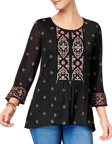 Style And Co. Embroidered Long-Sleeve Top-BLACK-X-Large