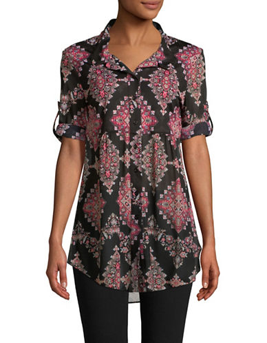 Style And Co. Printed Button Cuff Shirt-BLACK-X-Large
