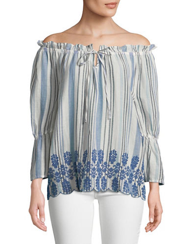 Style And Co. Striped Off-The-Shoulder Top-WHITE-X-Large