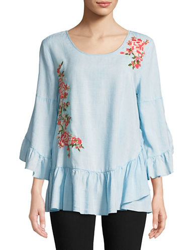 Style And Co. Garden Embroidered Denim Top-BLUE-Small