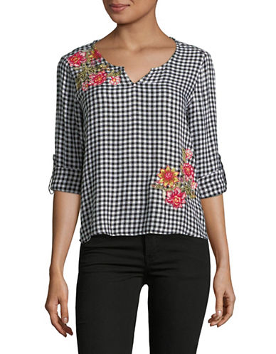Style And Co. Petite Floral Embroidered Gingham Top-BLACK MULTI-Petite Medium