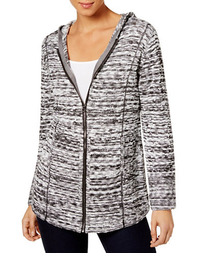 Style And Co. Marled Zip-Front Hoodie-BLACK-Medium