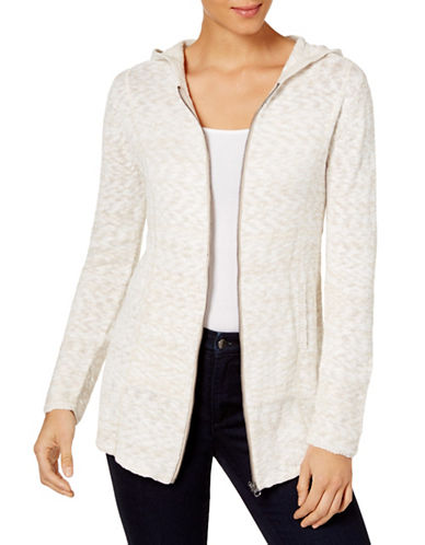 Style And Co. Marled Zip-Front Hoodie-BEIGE-Small