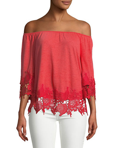 Style And Co. Petite Lace Trim Off-The-Shoulder Top-RED-Petite Large