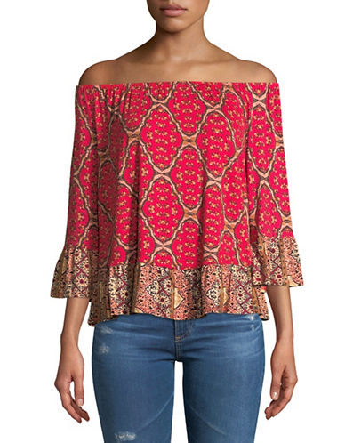 Style And Co. Petite Printed Off-The-Shoulder Top-PINK-Petite Medium