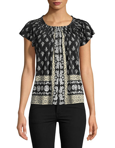 Style And Co. Petite Printed Pleat Neck Blouse-GREY-Petite Small