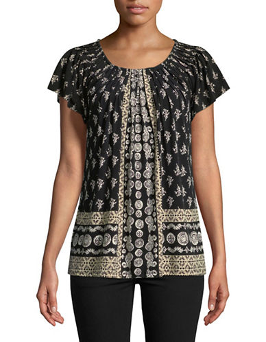 Style And Co. Pleated Mix Print Top-BEIGE-Large