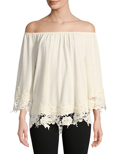 Style And Co. Off The Shoulder Lace Top-WHITE-X-Large