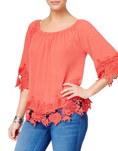 Style And Co. Off The Shoulder Lace Top-ROSE-Large