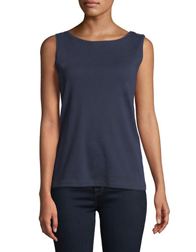 Karen Scott Petite Boat Neck Tank Top-NAVY-Petite Medium
