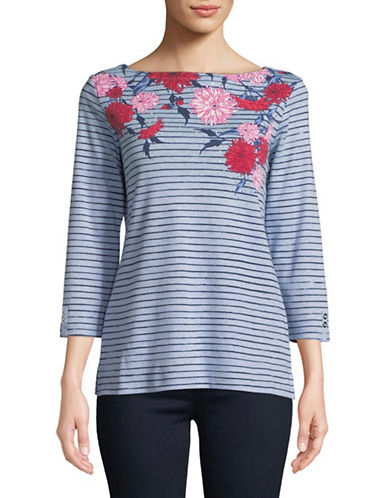 Karen Scott Felicity Floral Print Top-BLUE-X-Large