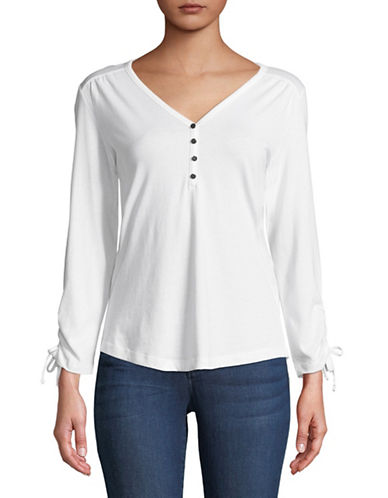 Karen Scott Sinched Henley Tee-WHITE-Medium