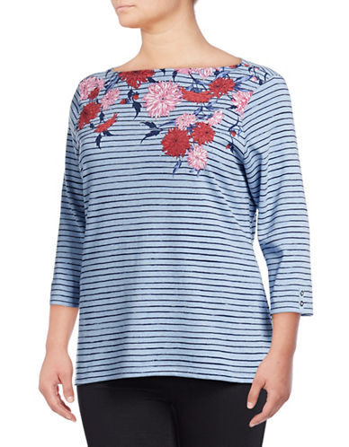 Karen Scott Plus Plus Felicity Striped Top-BLUE-3X