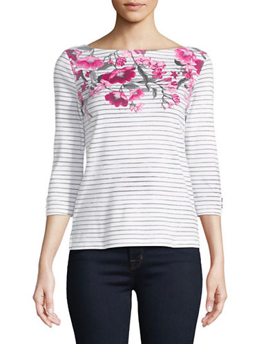 Karen Scott Petite Felicity Striped Boat Neck Top-WHITE-Petite X-Large