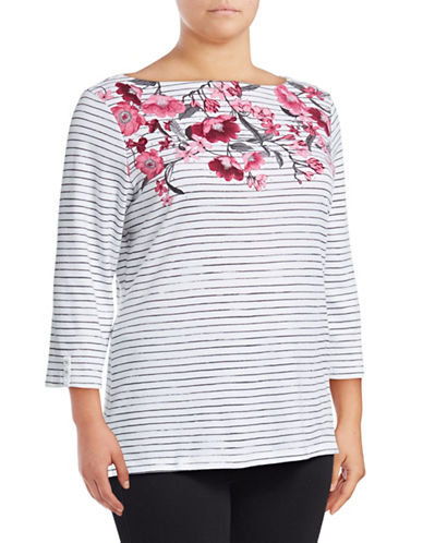 Karen Scott Plus Plus Floral Dust Boat Neck Top-GREY-1X
