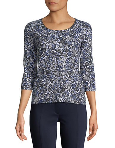 Karen Scott Petite Daisy Scoop Neck Top-BLACK-Petite X-Small