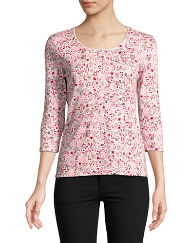 Karen Scott Petite Daisy Scoop Neck Top-BLUSH-Petite Medium