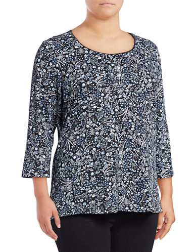 Karen Scott Plus Plus Daisy Three-Quarter Sleeve Cotton Top-BLACK-1X