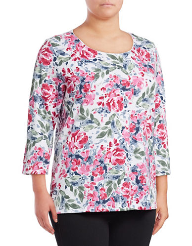 Karen Scott Plus Plus Rose Three-Quarter Sleeve Top-WHITE-1X