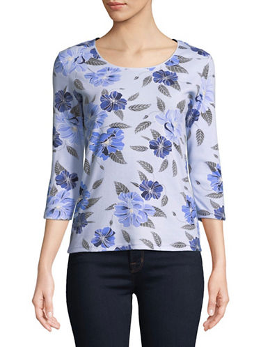 Karen Scott Petite Peony Three-Quarter Sleeve Top-BLUE-Petite X-Small