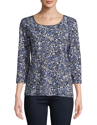 Karen Scott Three-Quarter Sleeve Drift Daisy Top-BLACK-Small