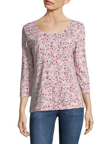 Karen Scott Three-Quarter Sleeve Drift Daisy Top-PINK-X-Large 89711726_PINK_X-Large