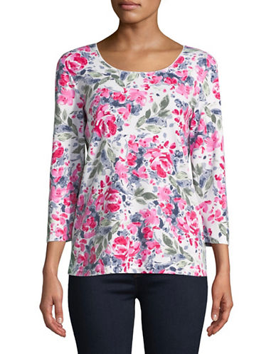 Karen Scott Three-Quarter Sleeve Rose Scoop Neck Top-WHITE/PINK-X-Large