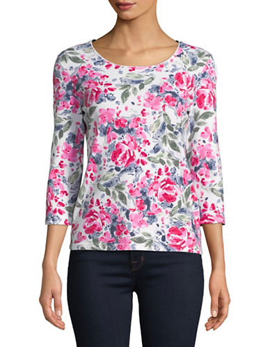 Karen Scott Petite Rose-Print Scoop Neck Top-WHITE-Petite Small