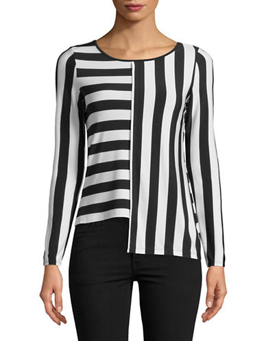 I.N.C International Concepts Petite Striped Asymmetrical Top-WHITE-Petite X-Small