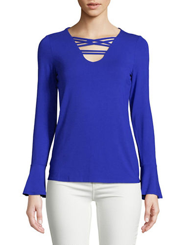 I.N.C International Concepts Petite Strappy Bell-Sleeve Top-BRIGHT BLUE-Petite Small