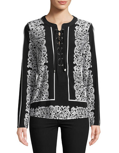 I.N.C International Concepts Lace-Up Long-Sleeve Top-BLACK-Small
