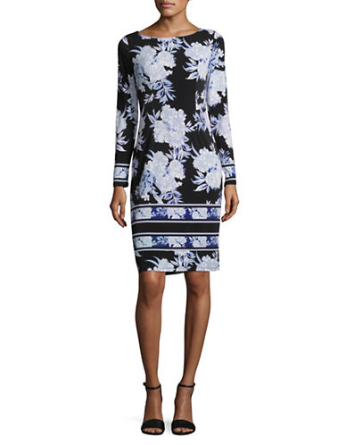 I.N.C International Concepts Floral Long-Sleeve Dress-BLUE-Medium