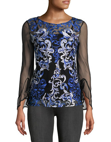 I.N.C International Concepts Embroidered Mesh Top-BLACK/BLUE-Small