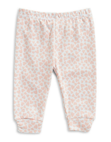 First Impressions Heart Ruched Cotton Jogger Pants-PINK-3-6 Months