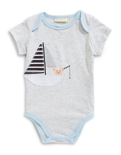 First Impressions Boat Short-Sleeve Bodysuit-GREY-6-9 Months
