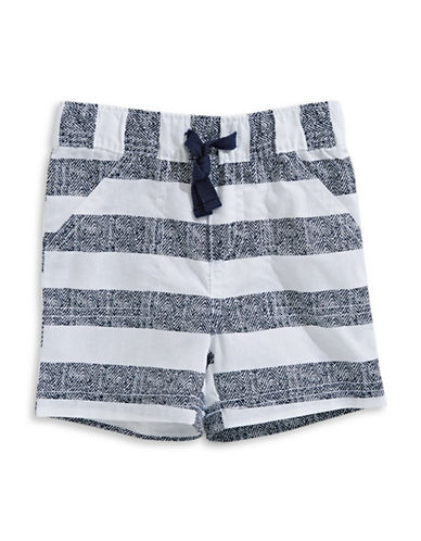 First Impressions Striped Woven Cotton Shorts-BRIGHT WHITE-18 Months