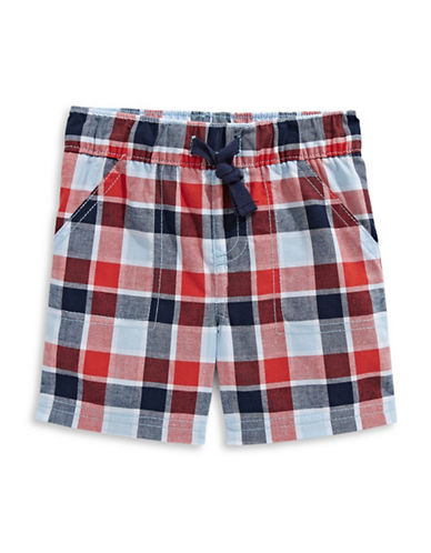 First Impressions Plaid Cotton Shorts-RED-6-9 Months