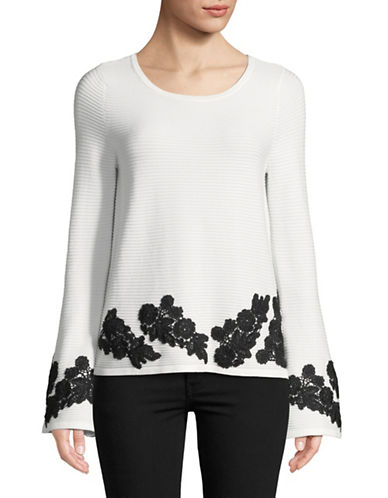 I.N.C International Concepts Lace Bell-Sleeve Top-WHITE-Small