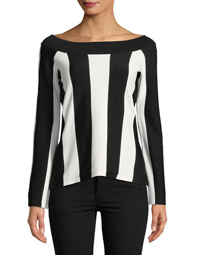 I.N.C International Concepts Vertical Stripe Top-WHITE-Large