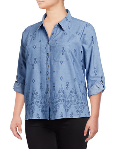 Style And Co. Plus Plus Printed Button-Down Shirt-BLUE-2X